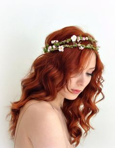 Floral crown, pink bridal wreath, boho wedding crown, flower headpiece, wedding hair accessories