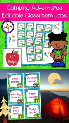 This set of camping themed classroom job labels are part of my Camping Adventures Classroom Décor collection. In addition to the labels listed below, I have included an editable file to help you personalize this product to suit your needs. Each classroom job label is accented with bright colors and camping themed graphics! #teacherspayteachers #tpt #editable Classroom Décor, Classroom Organization, Classroom Management, Classroom Resources, Creative Teaching, Teaching Tools, Teaching Kids, Teaching Resources, Hands On Activities
