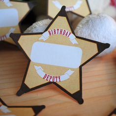 Cute Little Cowboy Printable Sheriff's Star Badges - Print and use as name tags or favor tags. $3.00, via Etsy.