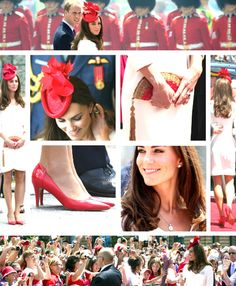 kate-middleton-fashion:    Canada/America tour - Day 2  Catherine wore a white ruffled dress by Reiss, a fan clutch by Anya Hindmarch, paired with a bracelet from Tiffany & Co, red heels by Hobbs, diamond earrings by Kiki McDonough, a necklace by Aspen and a diamond brooch lended to her by Her Majesty. For her hair, the duchess wore a red fascinator by Lock & Co. representing the leaves present on the Canadian flag.