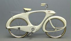 """Bowden Spacelander Bicycle for auction. 1960 Bowden """"Spacelander"""" bicycle, white fiberglass, manufactured by, Bomard Industries. Cool Bicycles, Vintage Bicycles, Cool Bikes, Automobile, F22, Bicycle Design, Style, Bicycling, Twitter"""