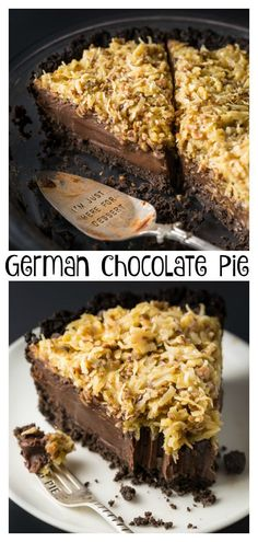 No-Bake German Chocolate Pie with Oreo Cookie Crust #nobakepie #germanchocolatepie #nobake #chocolatepie #chocolate #pie