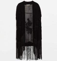 Embroidered Sheer Kimono With Tassel Hem