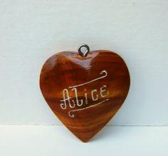 Vintage Heart Pendant in Wood Monogrammed with by BasyaBerkman, $16.00