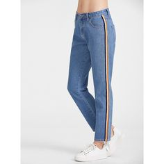 Side Striped Tape Straight Jeans ($25) ❤ liked on Polyvore featuring jeans, blue, straight leg jeans, straight-leg jeans and blue jeans