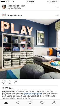 When You Think this Playroom Can't Get Any Cuter, You Spot the Art Nook Colorful Playroom/Family Room - gorgeous with amazing organization!Colorful Playroom/Family Room - gorgeous with amazing organization! Playroom Design, Playroom Decor, Boys Playroom Ideas, Bonus Room Playroom, Kids Rooms, Kids Playroom Colors, Blue Playroom, Loft Playroom, Small Playroom