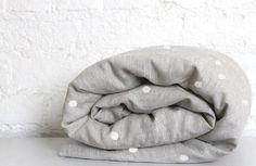 Hello Milky: Linen Toddler Duvet Cover - White Spotty
