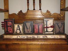 Blocs de mot signe famille personnalisé
