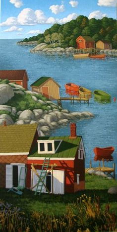 Bay in Light by Paul Hannon: Paul Hannon (b. is an American-born, Canadian artist, who lives in Halifax, Nova Scotia, where he paints urban and coastal scenes of Atlantic Canada. Pictures To Paint, Nature Pictures, Landscape Paintings, Watercolor Paintings, Landscapes, Paul Horton, Naive Art, Canadian Artists, Seaside