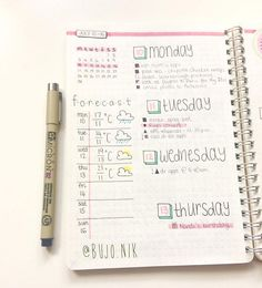 """58 Likes, 1 Comments - @bujo.nik on Instagram: """"Double post to show you the other side of this weeks spread I'm still sick which totally sucks…"""""""