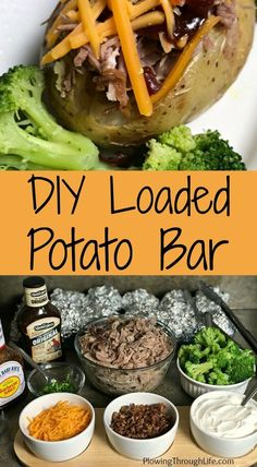 Do you need an easy meal to feed a crowd? Then this Loaded Baked Potato or taco bar recipe is a great option! The DIY loaded potatoes are perfect for a group of friends or for a family gathering. A baked potato bar allows each person to top their potato Baked Potato Bar, Loaded Baked Potatoes, Loaded Potato, Baked Potato Toppings Bar, Taco Bar Recipes, Pork Recipes, Easy Recipes, Group Meals, Family Meals