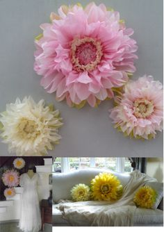 First Birthday Decorations - Set of 3 Giant Paper Flowers (Pink) - Perfect…