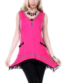Another great find on #zulily! Pink Lace-Trim Sidetail Tunic by Aster #zulilyfinds
