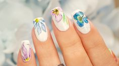 """Color Pencil Watercolor Nail Art. Using colored pencil, moistened slightly, as the watercolor """"paint"""""""