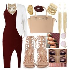 """""""Night out"""" by merlz on Polyvore featuring Gianvito Rossi, River Island, Michael Kors, ABS by Allen Schwartz, Charlotte Russe, Panacea, Lime Crime and Le Specs"""