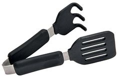 Norpro combines the function of a turner and a fork in this Grip-EZ Grab/Lift Tongs. These tongs are perfect to be used with machines for waffles, griddles, and other specialty breakfast type pieces of cookware. Tongs will not scratch cookware. Small Kitchen Appliances, Kitchen Gadgets, Belgian Waffle Maker, First Flat, Specialty Appliances, Tonga, Cooking Utensils, Cooking Spoon, Black Stainless Steel