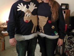 Going to an ugly Christmas sweater party? Find all the best ideas for making your own DIY ugly Christmas sweater. Tacky Christmas Party, Christmas Couple, Winter Christmas, Holiday Fun, Christmas Crafts, Christmas Ideas, Easter Crafts, Halloween Crafts, Christmas Time