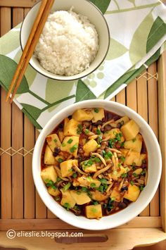 The famous Szechuan spicy tofu dish with shimeji mushroom, stir-fry with a thick  rich sauce.