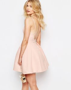 Image 2 of Chi-Chi London Petite Sateen Strappy Back Prom Mini Skater Dress