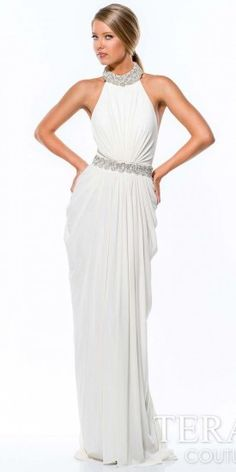 Terani Couture Gathered Column Evening Gown