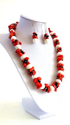 STATEMENT Necklace Earrings Set is HANDMADE White Coral Round Beads Red Coral Beads  Handmade Necklace Burlesque Style  Handmade Jewelry. by GECHELINE on Etsy