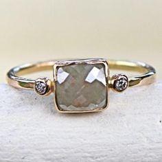 Diamond Ring Rose Cut Diamond Slice in 14K by SamanthaMcIntosh
