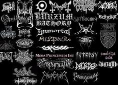 34 death metal and black metal logos for bands that I have heard and liked (some more than others). Carpathian Forest, Metal Band Logos, Cannibal Corpse, Dimmu Borgir, Metal Fan, Extreme Metal, Arch Enemy, Music Album Covers, Cover Band
