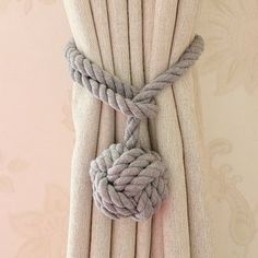 Jonathon Handmade Rural Cotton Rope Curtain Tieback (Set of (Grey) Gray(Fabric) Bay Window Curtains, Double Rod Curtains, Hanging Curtains, Drapes Curtains, Shower Curtains, Magnetic Curtain Tie Backs, Curtain Tie Backs Diy, Curtain Ties, Rope Curtain Tie Back