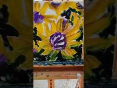 Palette knife painting sunflowers - YouTube
