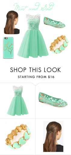 """""""MINT AND GOLD"""" by nosaj14 ❤ liked on Polyvore featuring Lucky Brand and France Luxe"""