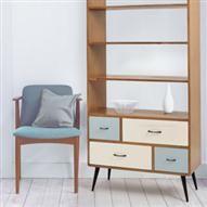 Joplin Mid Century 1 Drawer Bedside Cabinet, Blue | ACHICA
