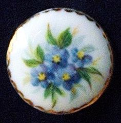 Vintage porcelain button a spray of blue by TheLadyatSkiers, £16.00