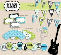 ROCK-A-BYE Baby Shower Printable Package in por PrintasticDesign