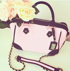 Baby Pink and Black Classic Chic Handbag Structured hand bag, paris, city chic, long chain.