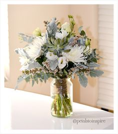 Fresh Vintage Wedding Posy- Succulents, Crysanthemum Disbuds, Lisianthus, Eucalyptus and silver suede foliage, wrapped in twine