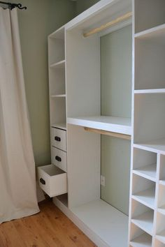 DYI Closet system $230. Site includes step by step instructions, material lists, design can be scaled to multiple size closets.