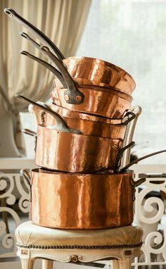Apaixonada por essas panelas de cobre! ♥