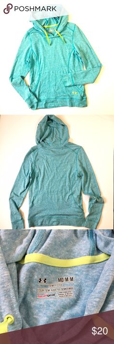"""Under Armour // Heat Gear Hooded Pullover Heathered aqua lightweight hooded pullover by Under Armour. Lime green drawstring and logo. Kangaroo pocket on front. Cotton-polyester-rayon blend. Good condition with some pilling under arms, as shown in last photo. About 18.5"""" across chest, 25"""" in length. 🚫trades🚫 smoke free home Under Armour Tops Sweatshirts & Hoodies"""