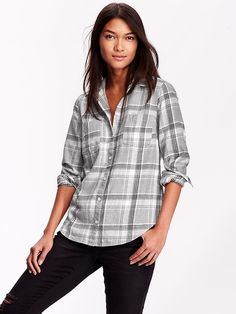Classic Plaid Flannel Shirt  i just bought this cute grey plaid at Old navy  so cute and great for fall/winter