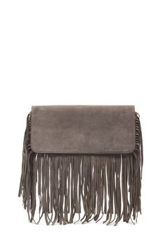 Image 1 of ThePerfext Hayley Fringe Clutch in Grey Suede