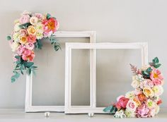 painted frames, old window frames, artificial flowers, floral frame, fabric flowers, paper flowers, focal point, picture frames, babies rooms