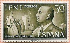 Sello Ifni de 50 céntimos, 1 de octubre 1936-1961, General Franco - Portal Fuenterrebollo