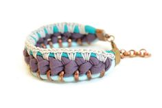 Woven Purple Fabric Bracelet, Crochet Bracelet with Turquoise Jersey and Creme Silk Yarn Details, Oxidized Copper Rings on Etsy, $35.65