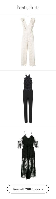 """""""Pants, skirts"""" by bliznec ❤ liked on Polyvore featuring jumpsuits, white, white ruffle jumpsuit, white jump suit, white jumpsuit, jonathan simkhai, flounce jumpsuit, black, wool jumpsuit and jump suit"""