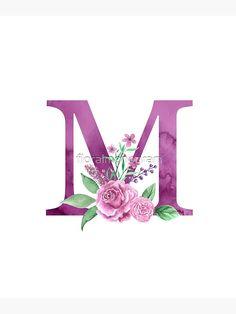 'Monogram M Lovely Rose Bouquet' Canvas Print by floralmonogram Monogram Wallpaper, Alphabet Wallpaper, Wall Art Wallpaper, Rose Wallpaper, Cute Wallpaper Backgrounds, Cute Wallpapers, Iphone Wallpaper, Floral Letters, Monogram Letters