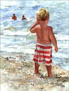 "Beach Boy in Green Swim Bathing Suit in Ocean Waves Seashore Ocean Bay Children Watercolor Painting Print, Wall Art, Home Decor, ""Bay Watch"" Boy On Beach, Toddler Beach, Beach Watch, Sisters Art, Am Meer, Beach Scenes, Watercolor Paintings, Watercolours, Painting For Kids"