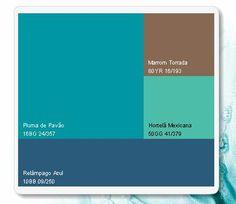 combinação de cores azul + verde + marrom feito no site da Coral.