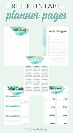 Free Watercolor Printable Planner Pages