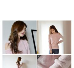 Cutout-Shoulder Furry Knit Top