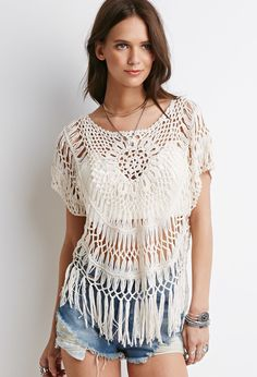 Fringed Floral Crochet Top | Forever 21 - 2000052315